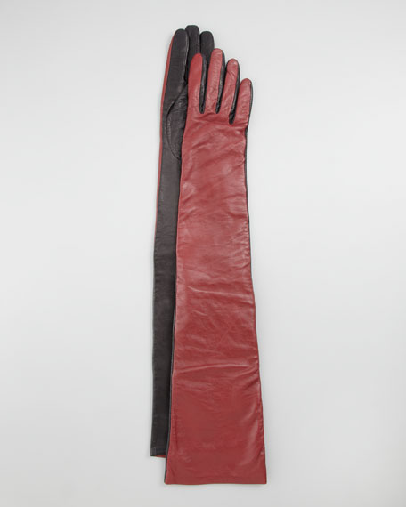 Two-Tone Leather Opera-Length Gloves, Cabernet/Black