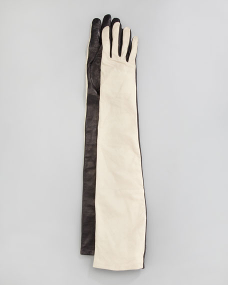 Two-Tone Leather Opera-Length Gloves