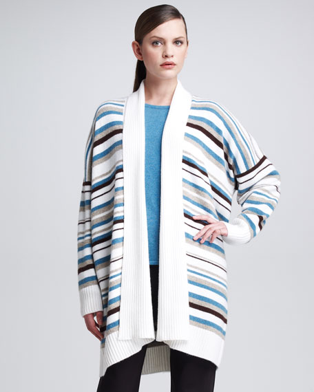 Shawl-Collar Striped Cardigan