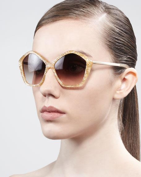 Pentagon Glitter Enamel Sunglasses, Orange