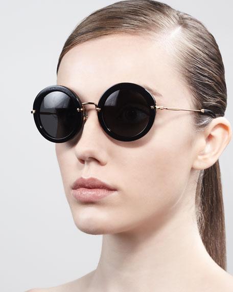 Oversize Circle Sunglasses, Black