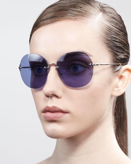 Frameless Oval Sunglasses