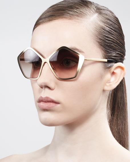 Pentagon Metal Sunglasses, Havana