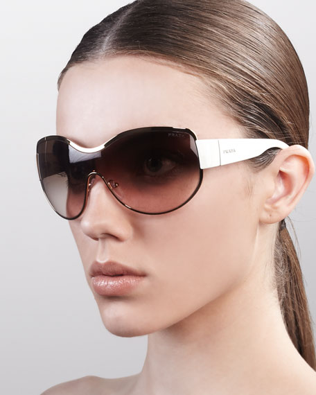 Curvy Shield Sunglasses, Ivory