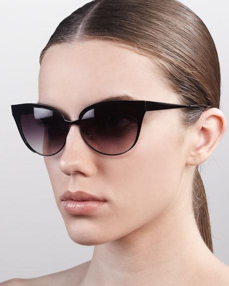 Valerie Metal-Frame Cat-Eye Sunglasses, Black
