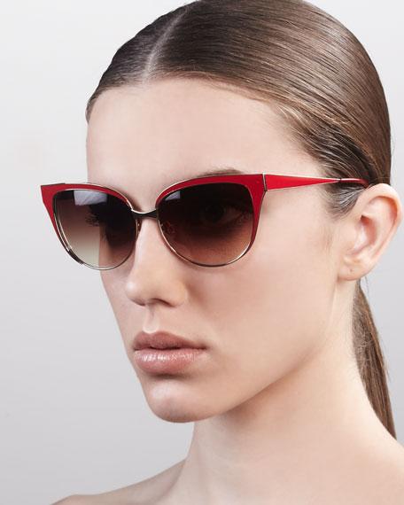 Valerie Metal-Frame Cat-Eye Sunglasses, Open Gold