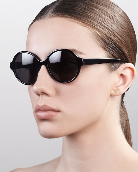Bouvier Oversized Rounded Sunglasses, Black