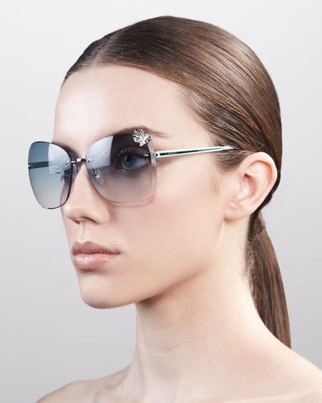 Butterfly-Temple Rimless Sunglasses, Palladium/Azure