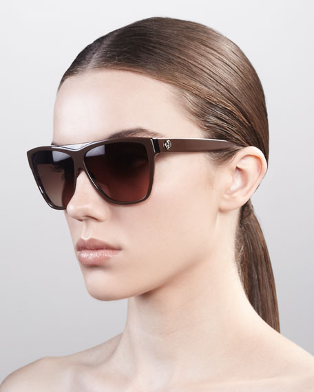 Square Plastic Sunglasses, Brown