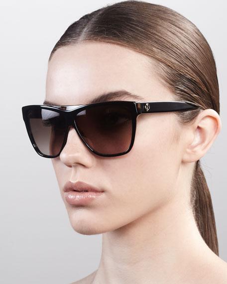 Square Plastic Sunglasses, Black
