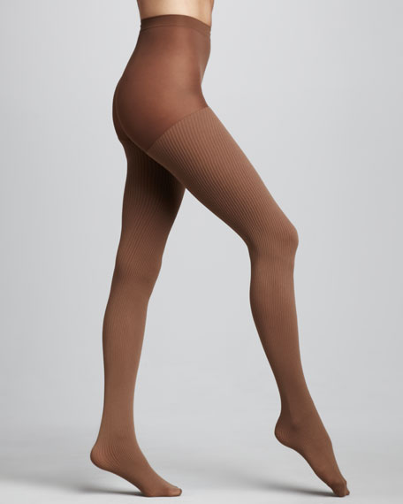 Ribbed Control-Top Tights, Caramel