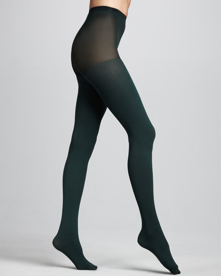 Ribbed Control-Top Tights, Evergreen