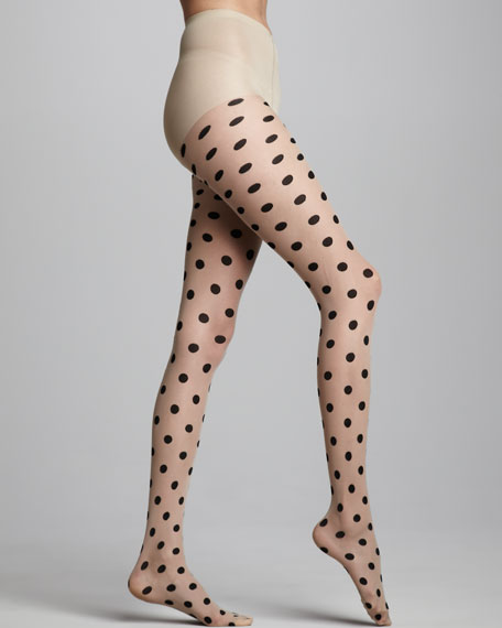 Polka-Dot Tights, Cream