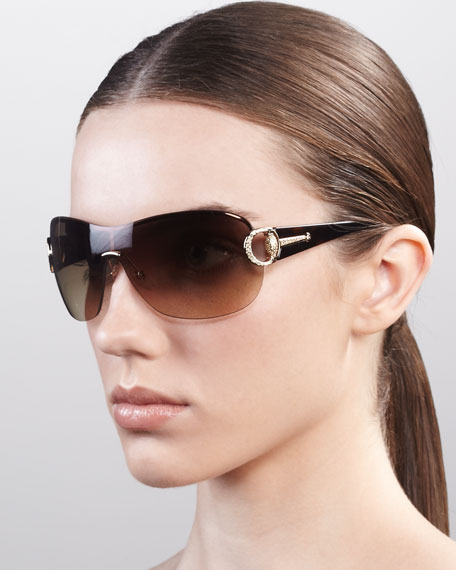 Logo Shield Sunglasses, Golden