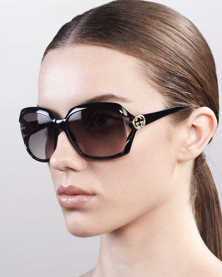 GG Logo Plastic Sunglasses, Shiny Black