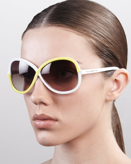 darcee interlace sunglasses, white/lemon twist