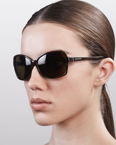 kate spade new york ailey square sunglasses, brown