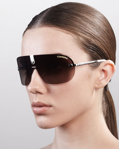 Rimless Shield Sunglasses, Light Gold