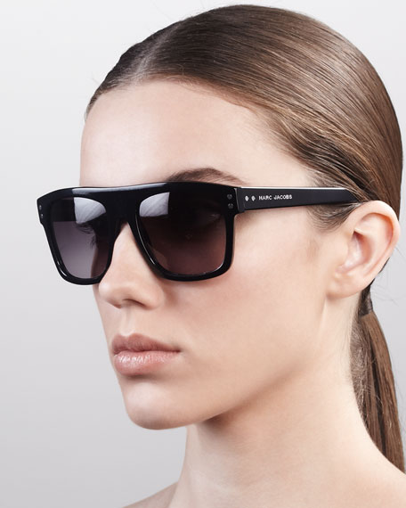 Square Sunglasses with Logo, Black