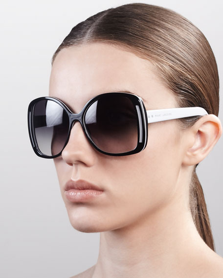 Oversized Oval Sunglasses, Black/Gray/Brown