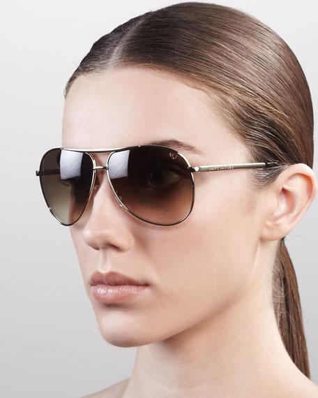 Classic Aviator Sunglasses, Semi-Matte Gold