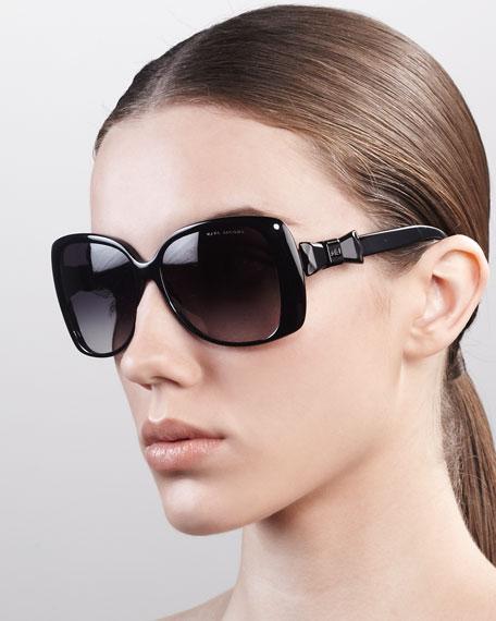 Oversized Oval Sunglasses, Black