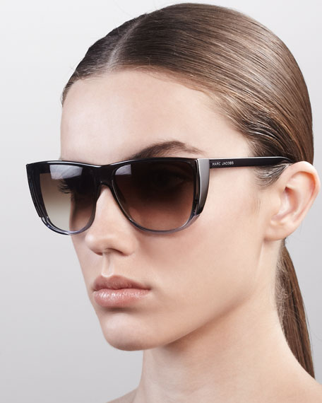 Oversized Ombre Sunglasses, Gray Yellow