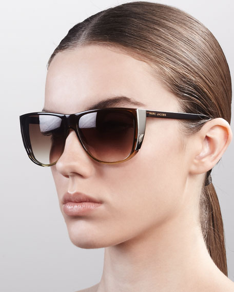 Oversized Ombre Sunglasses, Brown/Nude/Lime
