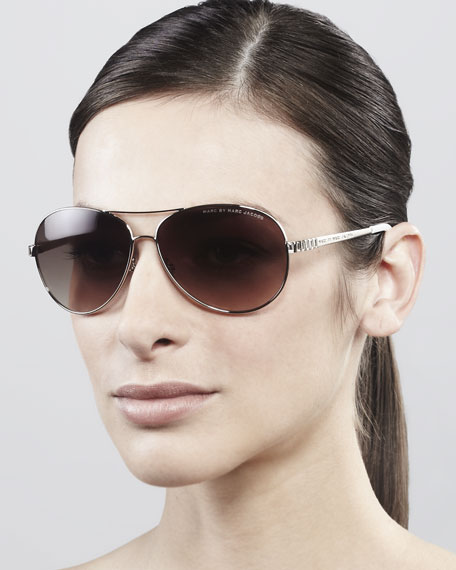 Temple-Detail Aviator Sunglasses, Light Gold