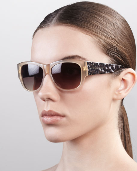 Leopard-Pattern Square Sunglasses, Beige