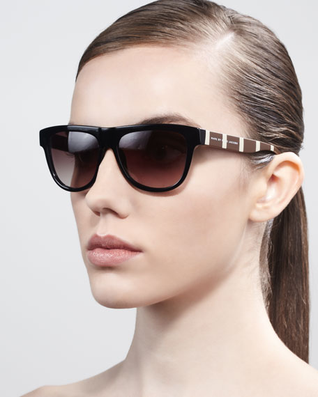 Contrast-Arm Enamel Sunglasses, Black