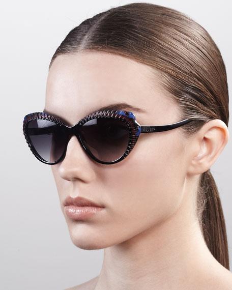 Scalloped Modified Cat-Eye Sunglasses, Black/Burgundy