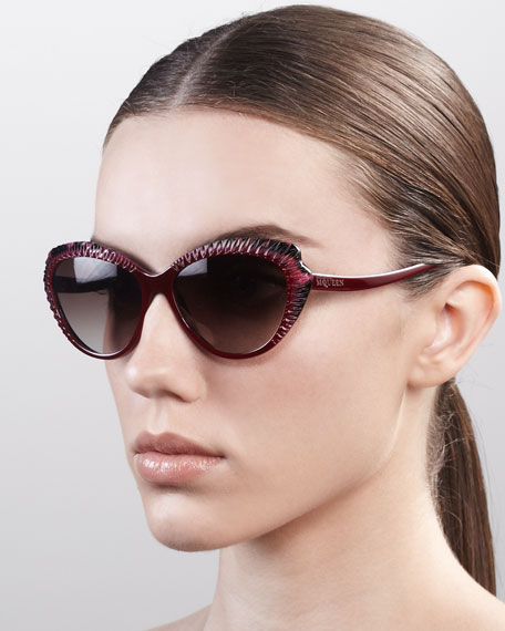 Scalloped Modified Cat-Eye Sunglasses, Red/Pink Havana