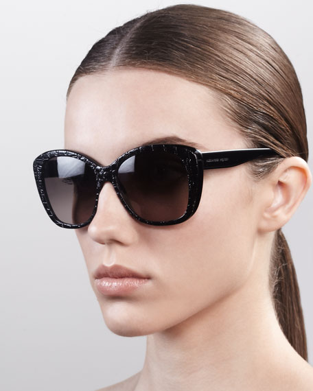 Embossed Oversized Sunglasses, Black
