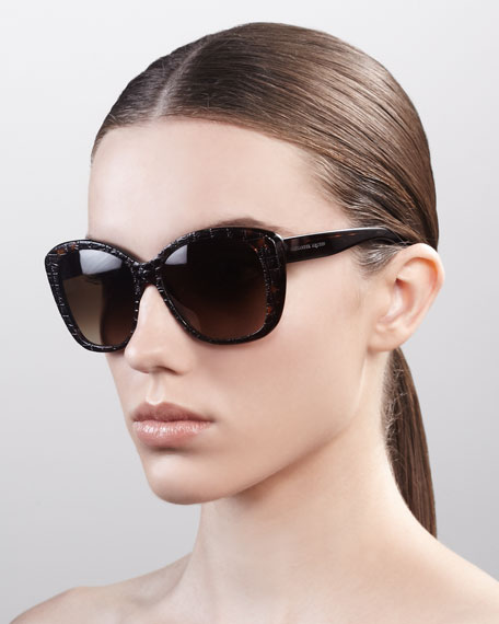 Embossed Oversized Sunglasses, Dark Havana