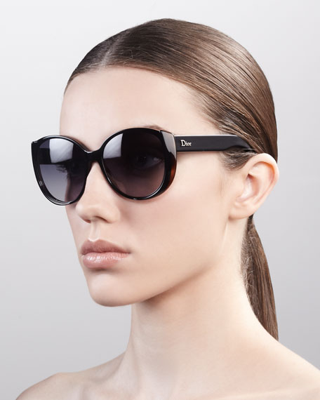 Oversized Rounded Sunglasses, Black Havana