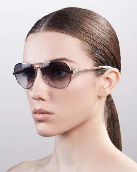 Classic 301 Aviator Sunglasses, Silver/Gray