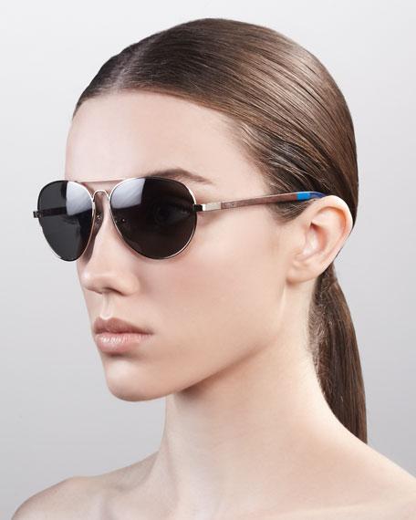 Classic 301 Aviator Sunglasses, Golden/Green Gray