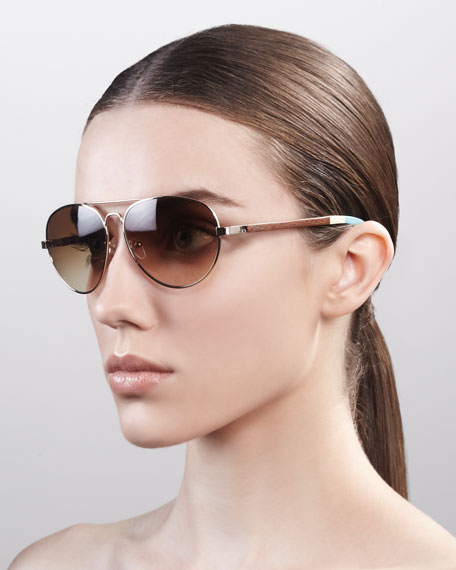 Classic 301 Aviator Sunglasses, Golden/Brown