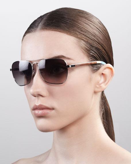 Classic 302 Aviator Sunglasses, Silver/Gray