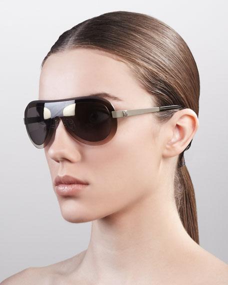 Oversized Shield Sunglasses, Gray Gradient