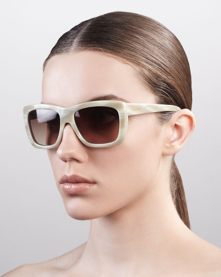 Oversized Square Sunglasses, Shiny Horn