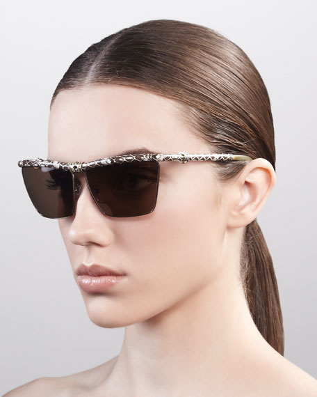 Crystallized Snake-Print Sunglasses