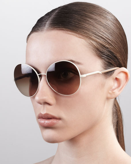 Round Metal Sunglasses, Cream