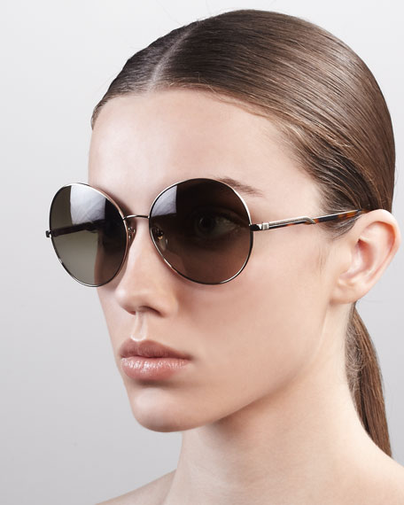 Round Metal Sunglasses, Pale Gold
