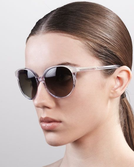 Thin Round Plastic Sunglasses, Beige