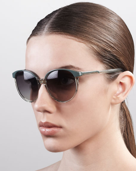 Thin Round Plastic Sunglasses, Green