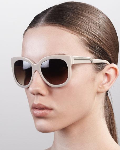 Rounded Plastic Sunglasses, Hazelnut