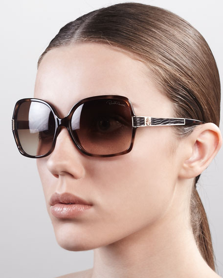 Albizia Square Sunglasses, Dark Havana