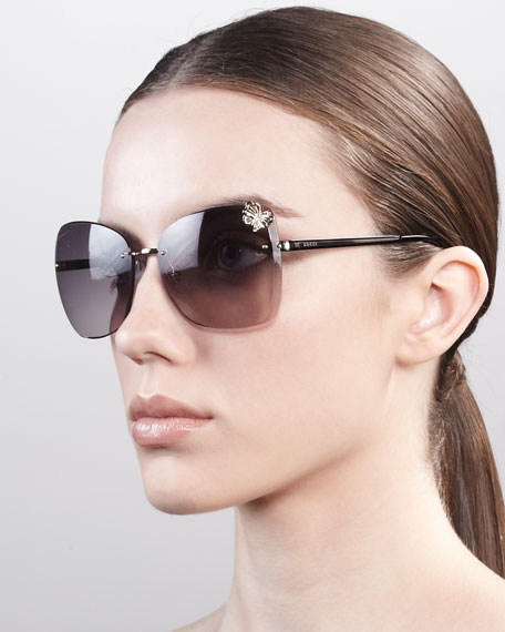 Butterfly-Temple Rimless Sunglasses, Golden/Black